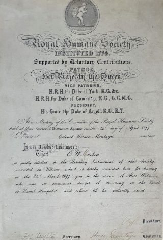 Edmund Wilkie Morton's Humane Society Award, for bravely saving a girl from drowning in a canal