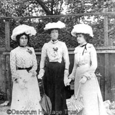 Photo of Ethel, Kate and Lilly taken by their father, the Boxmoor photographer Fred Margrave, early 1900s. Note their large hats, gloves and parasols, which were obligitory accessories for many occasions | Dacorum Heritage Trust