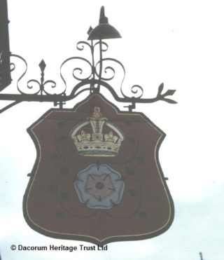 Pub sign outside The Rose and Crown public house, Hemel Hempstead | Dacorum Heritage Trust