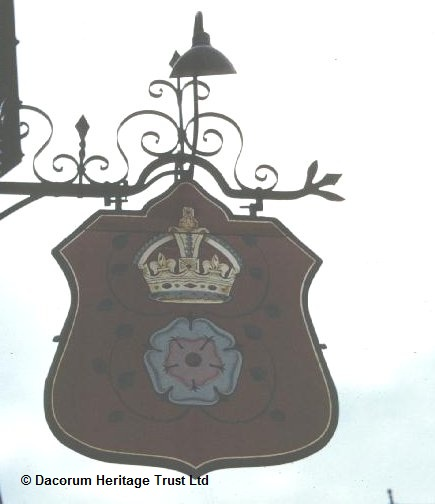 Pub sign outside The Rose and Crown public house, Hemel Hempstead   Dacorum Heritage Trust