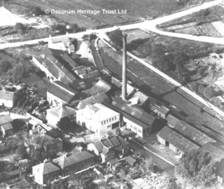 Aerial photograph showing Frogmore Mill in c1924 soon after the new office was built | Dacorum Heritage Trust Ltd