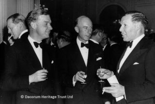 Roger Wallers at a dinner of the Paper Trade Golfing Society (the year he was Captain) with Dr Colin Gregory (guest speaker on far right) and Tyrell Young (left), 1953 | Dacorum Heritage Trust