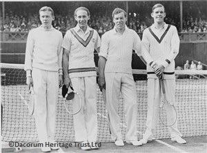 Dr JC Gregory pictured 2nd right with Ian Collins (far right) before their quarter final doubles match at Wimbledon against Boussus and Borotra of France in 1930 | Dacorum Heritage Trust