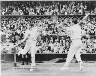 Dr JC Gregory (right) in action with his partner, Ian Collins, in the Men's Doubles at Wimbledon | Dacorum Heritage Trust