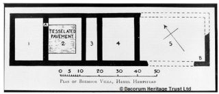 Photograph showing plan of Roman Villa at Boxmoor House excavated by Sir John Evans. | Dacorum Heritage Trust