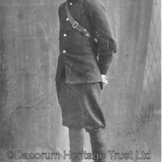 Photograph of Bob Gravestock, who worked as a telegram boy, circa 1900's. Note his uniform, which includes a pouch to hold the telegrams | Dacorum Heritage Trust