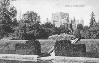 Ashridge House from the lake, now a sunken rose garden   The Dacorum Heritage Trust Ltd