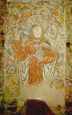 Photograph of Christ in Majesty depicted within the Piccotts End Medieval Wall Paintings | The Dacorum Heritage Trust Ltd