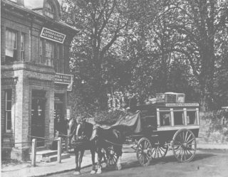 The railway could not have survived in the early days without the use of horses. At Boxmoor, the Station Horse Bus was a regular feature trundling between the Station and the Marlowes Posting House. | Dacorum Heritage Trust Ltd