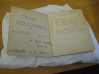 Nature Note Book containing 'Great Discoveries by Aldbury School'  by Jean Hooper, age 13 | The Dacorum Heritage Trust Ltd