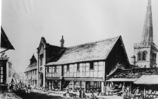 Early drawing of Hemel Hempstead Market House before the rebuilding of 1851 | The Dacorum Heritage Trust