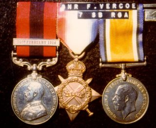 Corporal Vercoe's medals. The three medals are the 1914-15 Star Medal, the British War Medal 1914-1918 and, most importantly, the Distinguished Conduct Medal (D.C.M) with a Dated Bar for a Second Award of Gallantry. Only 80 Dated Bars were awarded in the First World War, five of these going to members of the Royal Artillery. Corporal Vercoe was the second man from Hemel Hempstead to be awarded the D.C.M.  Their bravery in the field and amazing courage will not be forgotten | Dacorum Heritage Trust Ltd