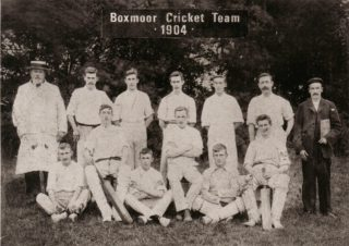 2.Boxmoor Cricket team in 1904: Back row, D. Final, J. Waddington, J. Gates, S. Gurney, W. Osborne, W. Townsend and J. Cross.  Front Row, W. Picton, H. Perry, A. Picton, W. Final (Captain), H. Kempster and C. Badcock. | Boxmoor Collection