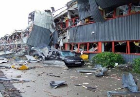 R&D building and the car park after the explosion