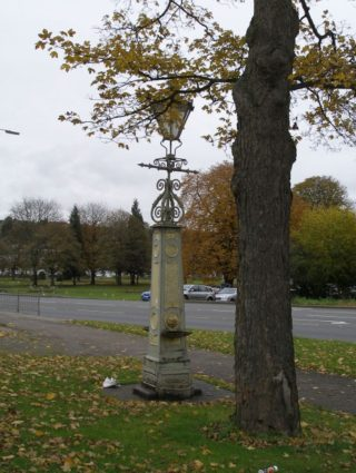 Fountain by Cranstone, later converted to gas lamp, outside Boxmoor Hall.  It is in urgent need of restoration | Joan Hands