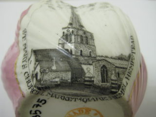 Pink lustlure souvenir bowl with an image of St Mary's Church, Market Square, Hemel Hempstead | Vincent Gosling