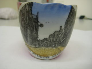 Pink lustlure souvenir tea cup decorated with an image of High Street Hemel Hempstead | Vincent Gosling