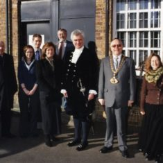 Photograph recording the visit of the High Sheriff of Hertfordshire, Howard Guard, to the Dacorum Heritage Trust' Museum Store on the 1st of February 2008. (Pictured beside DHT's own Pennyfarthing.) | The Dacorum Heritage Trust