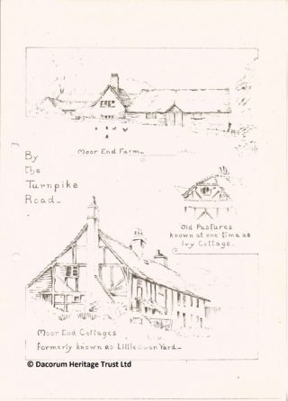 Moor End Cottages in Boxmoor from Miss Salisbury's Notes on Bourne End | Roger and Joan Hands