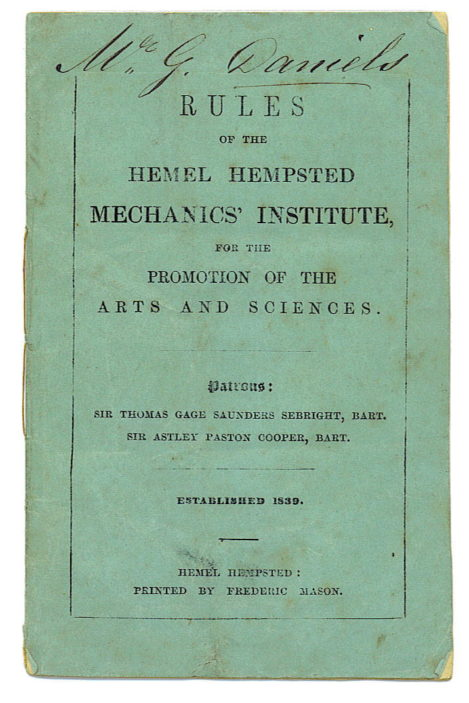 Front cover of the rule book of the Hemel Hempsted Mechanics Institute. (Note the front cover misspells Hempstead as 'Hempsted').   Roger and Joan Hands