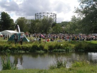 The gas works from the river Bulbourne in July 2009.  'Music on the Moor' was in full swing opposite | Joan Hands