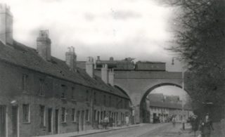 Nicky Line train on bridge over Marlowes c.1940 | Hertfordshire Archives and Local Studies