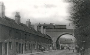 Nicky Line train on bridge over Marlowes c1940 | Hertfordshire Archives and Local Studies