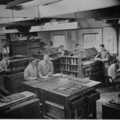 The composing Room of Clunbury Press, 1951 | Berkhamsted Local History and Museum Society cared for by The Dacorum Heritage Trust Ltd