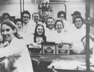 Coopers Aerosol plant: about 12 workers in white coats   Berkhamsted  Local History Society