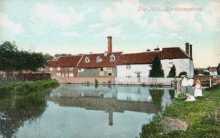 Tinted postcard showing Upper Mill and Mill Street | Berkhamsted Local History and Museum Society cared for by the Dacorum Heritage Trust
