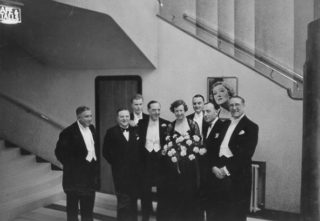 Opening of The Rex Cinema on 9th May 1938. Ralph Lynn standing on Lady Davidson's right. | Berkhamsted Local History and Museum Society cared for by the Dacorum Heritage Trust