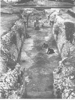 Photograph of the excavation of the cellar at Kings Langley Royal Palace, 1970 | Dacorum Borough Council Archaeology cared for by Dacorum Heritage Trust