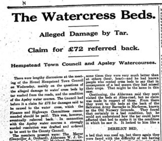 A newspaper Reference to the Alma Road Cressbeds