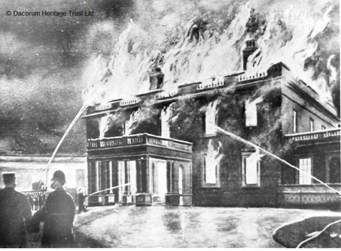 A fanciful depiction of the fire at Gaddesden Place which occurred on 1 February 1905. | Hemel Hempstead Local History and Museum Society cared for by the Dacorum Heritage Trust Ltd