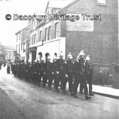 Hemel Hempstead Firemen marching down Alexandra Road, Hemel Hempstead in 1938. | Hemel Hempstead Local History and Museum Society cared for by the Dacorum Heritage Trust Ltd
