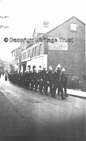 A photo of Hemel Hempstead firemen marching down Alexandra Road in 1938. | Hemel Hempstead Local History and Museum Society cared for by the Dacorum Heritage Trust Ltd
