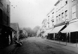 Butchers' Shambles and Lamb Inn dating back to c1700. These were demolished for a Market improvement scheme in 1888   Hemel Hempstead Local History and Museum Society cared for by the Dacorum Heritage Trust Ltd