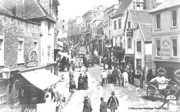 Hemel High Street in lack and white - 1881   Hemel Hempstead Local History and Museum Society cared for by the Dacorum Heritage Trust Ltd