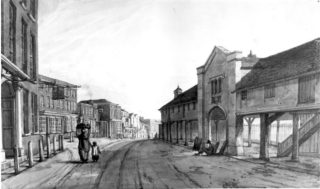 Drawing of the Market House and Corn Exchange | Hemel Hempstead Local History and Museum Society cared for by the Dacorum Heritage Trust
