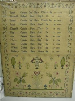 The Caslake family sampler shows a list of names along with their dates of birth.  The eldest was born in 1744 and the youngest child in 1798.  This sampler was probably made to celebrate the birth of each child and perhaps become a family heirloom | Kings Langley Local History and Museum Society cared for by the Dacorum Heritage Trust