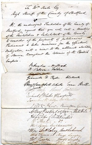 Petitions from Hemel Hempstead re the abolion of slavery, 1830   Hertfordshire Archives and Local Studies (Ref 52859)