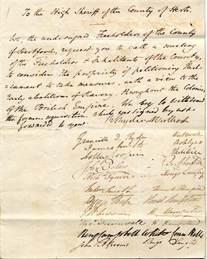 Petitions from Hemel Hempstead re the abolion of slavery, 1830   Hertfordshire Archives and Local Studies (Ref 52858)