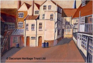 King's Arms Yard, Hemel Hempstead - Wally Edwards' shop is on the extreme left (from a painting in acrylic by Eric Edwards) | Dacorum Heritage Trust Ltd