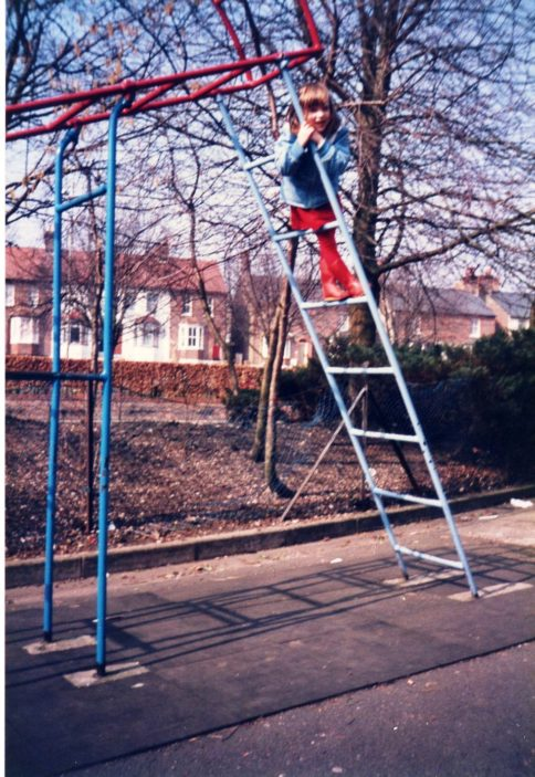 Rachel on the climbing frame 1985 | David Warriner