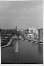 An image of the Water Gardens taken from the Kodak Building by Lesley's father